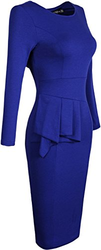 Jeansian Mujer Dama De Oficina Elegante Manga Larga Delgado Women Elegant Office Lady Slim Solid Long Sleeves WKD190 Navy