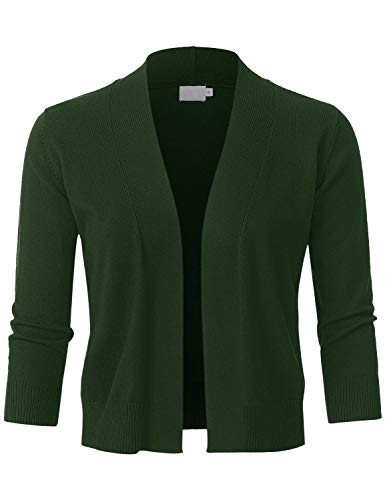 (JSCEND Womens Classic 3/4 Sleeve Open Front Cropped Bolero Cardigan Olive S)