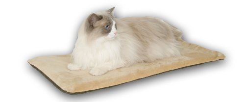 (K&H Pet Products Thermo-Kitty Mat Heated Pet Bed Mocha 12.5