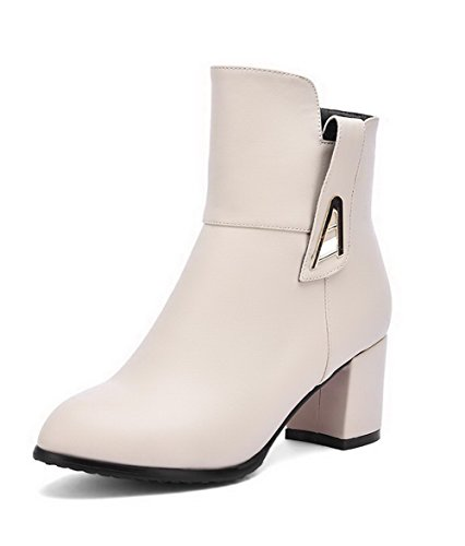 AgooLar Women's Kitten-Heels Solid Zipper Blend Materials Pointed Closed Toe Boots Beige 48OZGrC5K