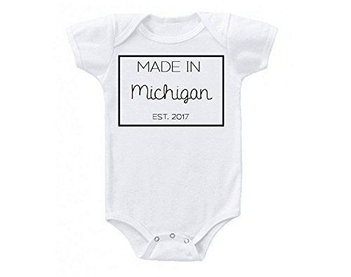 Promini Made in Michigan United States Babe Cute Funny Baby Onesie Gift Novelty Tshirt Costume Babies Bodysuit