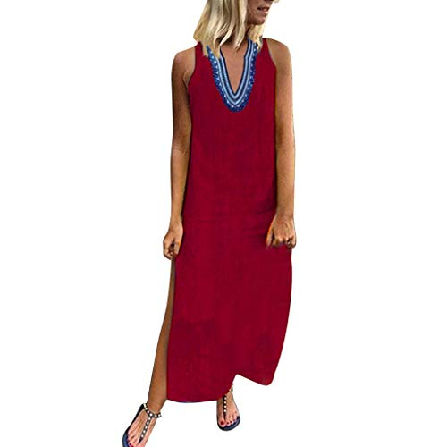 (Sunhusing Ladies Summer V-Neck Bohemian Ethnic Style Print Off-Shoulder Sleeveless Hem Split Beach Dress Red)
