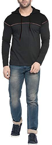 Fenoix Men's Cotton T-Shirt Hooded Dark Blue