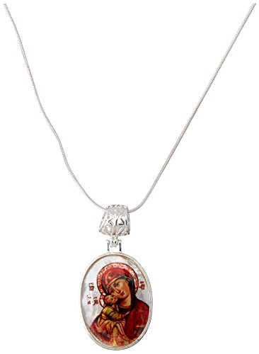 """G. Debrekht Holy Virgin Mary of Vladimir Silver-Plated Mother-of-Pearl Cabochon Oval Pendant with Chain Figurine, 18"""""""