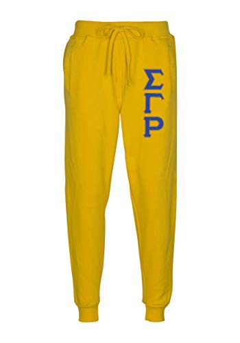 Sigma Gamma Rho Embroidered Twill Letter Joggers Gold Royal - Rho Gamma Letter