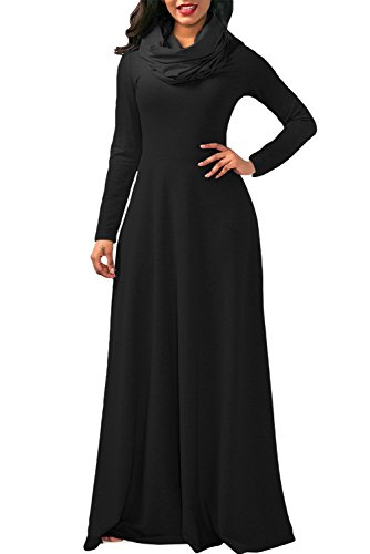 long black polyester dress - 3