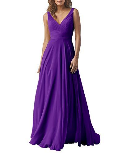(Yilis Double V Neck Elegant Long Bridesmaid Dress Chiffon Wedding Evening Dress Purple US6)