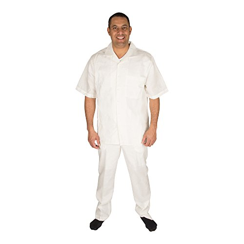 Vittorino Men's 100% Linen 2 Piece Walking Set with Long Pants and Short Sleeve Shirt, Offwhite, XXX-Large 46-33 (Cotton Poplin Field Shirt)