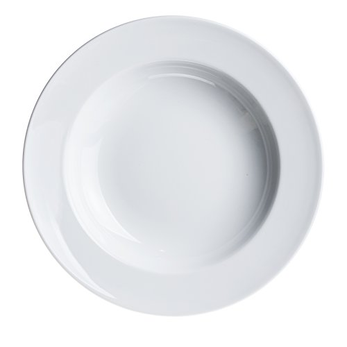 - 4-Piece PASTA/Salad/Soup/Serving PLATES 11.8 inc, White Porcelain, Restaurant&Hotel Quality
