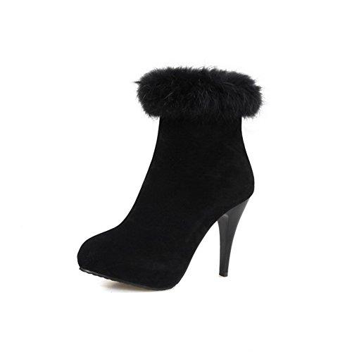 amp;N Black Girls Boots A Platform Zipper Stiletto Suede Imitated RdzwqwxC8