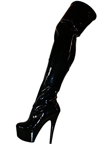 Erogance Sky Plateau High Heels Lack Overknees - Botas de charol para mujer negro