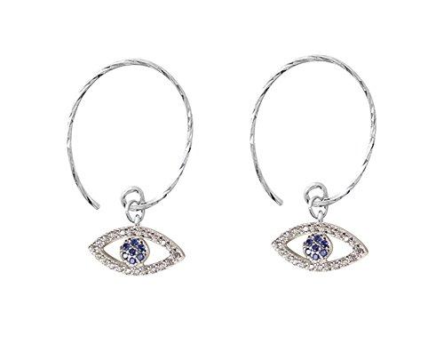 FarryDream 925 Sterling Silver Evil Eye Dangle Earrings for Women Blue Eye Earrings