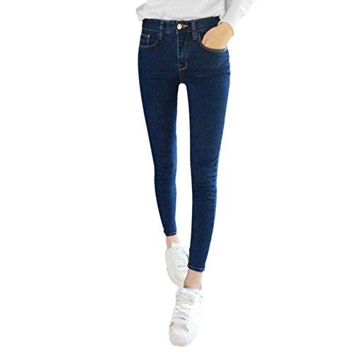 Oyamihin Mode Slim Mince Haute lastique Skinny Denim Jeans Taille Haute Stretch Crayon Pantalon Leggings Jeans Imitation pour Les Femmes