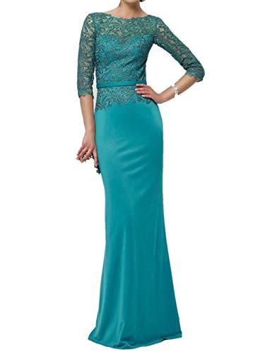 Festlichkleider Lang Ballkleider Rosa Dunkel Tuerkis Abendkleider mit Partykleider Langarm Charmant Damen Meerjungfrau Zq4Tx088