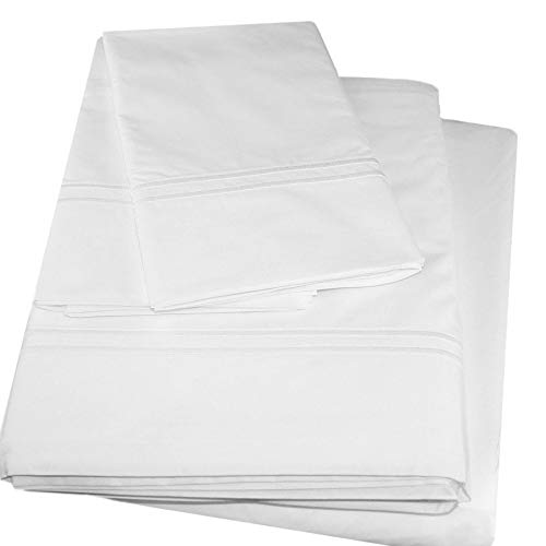 Sferra 500 Thread Count White 100% Egyptian Cotton Percale Queen (4) Piece Sheet Set Made in Italy