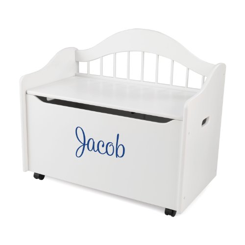 Personalized Toy Box (KidKraft Personalized Limited Edition Toy Box White with Blue Script,Jacob)