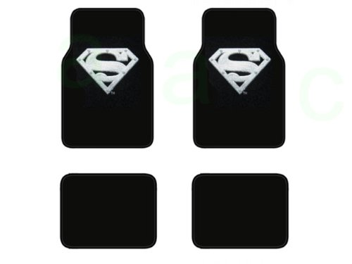 (A Set of 4 Universal Fit Plush Carpet Floor Mats For Cars / Trucks - Superman Silver Shield)