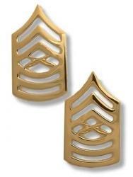 Marine Corps Collar Device (Marine Corps Master Sergeant 22K Gold Finish Collar Device Rank Insignia Pair)