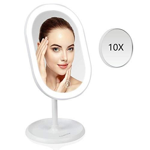Tovendor Desktop Lighted Makeup Mirror with Detachable 10X Magnification, Portable Adjustable LED -