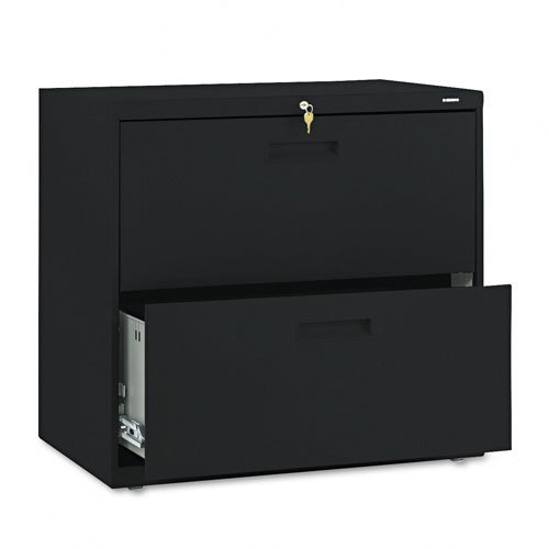 HON Products - HON - 500 Series Two-Drawer Lateral File, 30w x 28-3/8h x 19-1/4d, Black - Sold As 1 Each - An excellent choice for a small office or home office setting. - Heavy-duty three-part telescoping slide suspension operates on steel ball bearing s