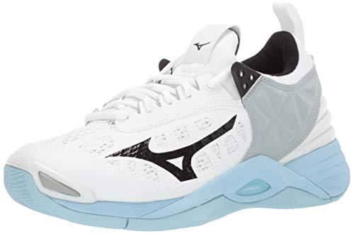 Mizuno Women's Wave Momentum Volleyball Shoe, white-blue, 8 B US