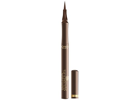(L'Oréal Paris Makeup Infallible Super Slim Long-Lasting Liquid Eyeliner, Ultra-Fine Felt Tip, Quick Drying Formula, Glides on Smoothly, Brown, 1 Count)