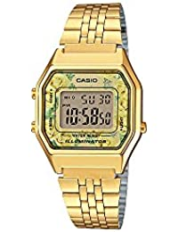 #LA680WGA-9C Womens Vintage Floral Gold Tone Chronograph Alarm Digital Watch