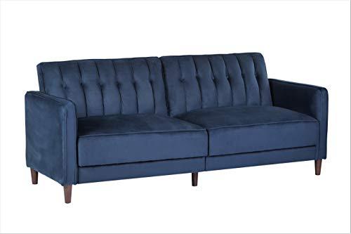 "Container Furniture Direct SB-9029 Anastasia Mid Century Modern Velvet Tufted Convertible Sleeper Sofa, 81"", Dark Blue"