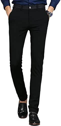 Men's Slim Fit Wrinkle-Free Casual Stretch Pants, Comfort Suit Pant Dress Trousers