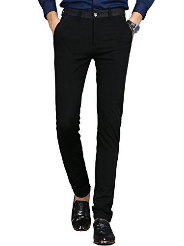 Men's Slim Fit Wrinkle-Free Casual Stretch Pants, Comfort Suit Pant Dress Trousers,Black Pants
