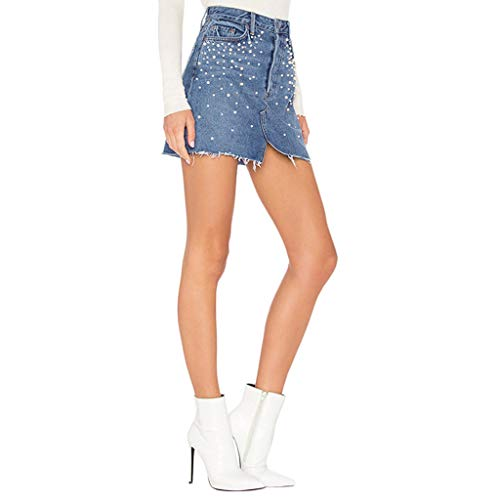 - LUCAMORE Women's Summer High Waist Denim Skirt Pearl Diamond Studded Denim Hip Skirt