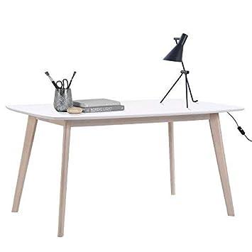 Lounge Zone Schreibtisch ANIZA Skandinavisches Design Home Office Tisch  Arbeitstisch Tischplatte Weiß Holzbeine Natur 90x150cm