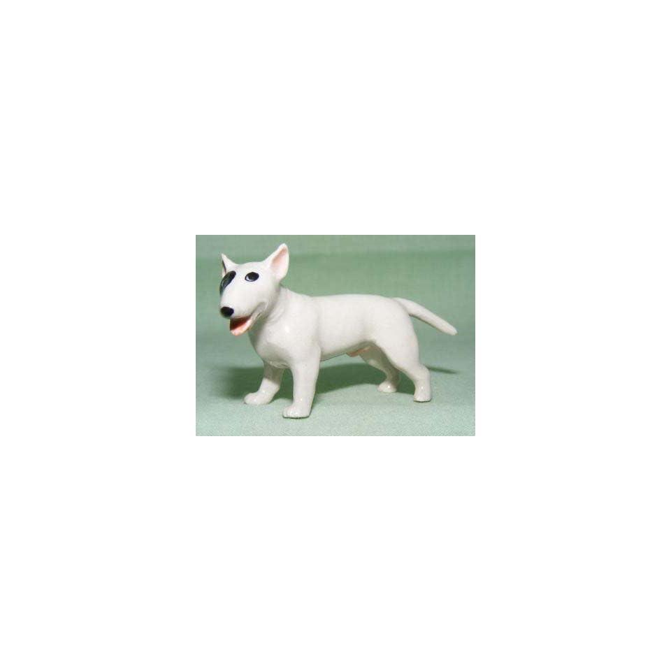 BULL TERRIER Dog White w/Black Eye Stands Target Dog New MINIATURE Figurine Porcelain KLIMA K546A