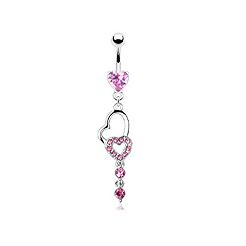 Heart Pink Jeweled Hollow Heart Belly Button Ring -