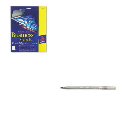 KITAVE5881BICGSM11BK - Value Kit - Avery Print-to-the-Edge Two-Sided Business Cards (AVE5881) and BIC Round Stic Ballpoint Stick Pen (BICGSM11BK) by Avery