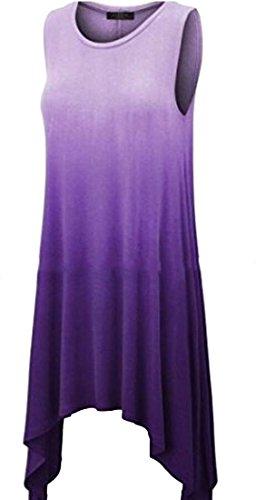 Jaycargogo Couleur Gradient Occasionnel Des Femmes Ras Du Cou Sans Manches Chemises Irrégulières Violet