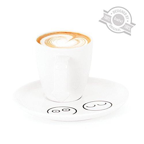 Balvi Caffè In - Conjunto de 4 Tazas de café de cerámica con indicador de cafeína Balvi Gifts