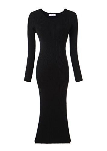 Olrain Womens Slim Fitted Crewneck Knit Sweater Dress Black Small