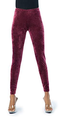 Ocommo Velvet Leggings, Ultra Soft 1 Inch Waisted Full Stretch Warm Womens Velvet Pants (Burgundy, One Size - Regular (S-L))