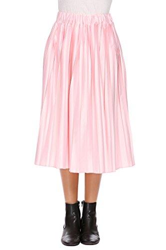Humorcup Women's Elastic High Waist Pleated Stretchy Pleated Hem Midi Calf A Line Skirt,Pastel Pink,Medium