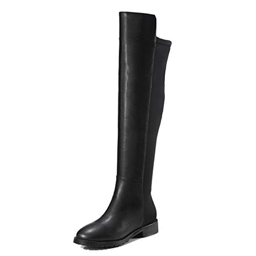 Women Pu Leather Over-The-Knee Boots Waterproof Round Toe Zipper Block Low Heel Thigh High Boot Black -