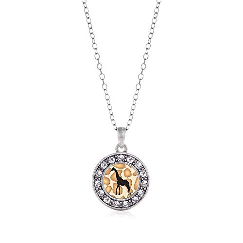 - Inspired Silver - Giraffe Silhouette Charm Necklace for Women - Silver Circle Charm 18 Inch Necklace with Cubic Zirconia Jewelry