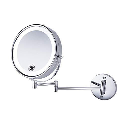 (JZ Wall Mounted Mirror Bathroom Shaving Mirror with LED Lights and 5X Magnification 360° Free Rotation Retractable Mirror Round Shaped Double-Sided for Bathroom Spa and Hotel 8.5)