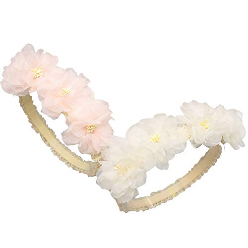 Baby Toddler Elastic Chiffon Flower Headbands Princess Girls Hand Sewing Beads Flower Headwear Nylon (Multicoloured Chiffon -