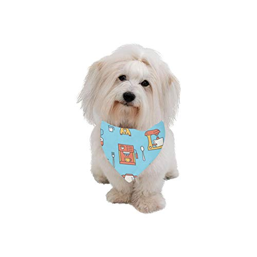 XINGCHENSS Pet Dog Cat Bandana Coffee Machine Tool Hand Drawn Fashion Printing Bibs Triangle Head Scarfs Kerchief Accessories for Large Dog Pet Birthday Party Easter Gifts