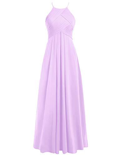 Lang Abendkleider Brautjungfernkleider Ballkleider Neckholder Chiffon Rückenfrei 44 Linie A Lila Hochzeitskleider dxaB0qx
