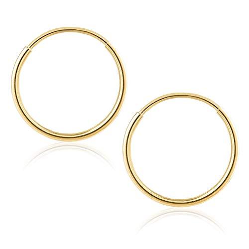 14k Yellow Gold Women's Endless Tube Hoop Earrings 1mm Thick 10mm - 20mm (10mm)