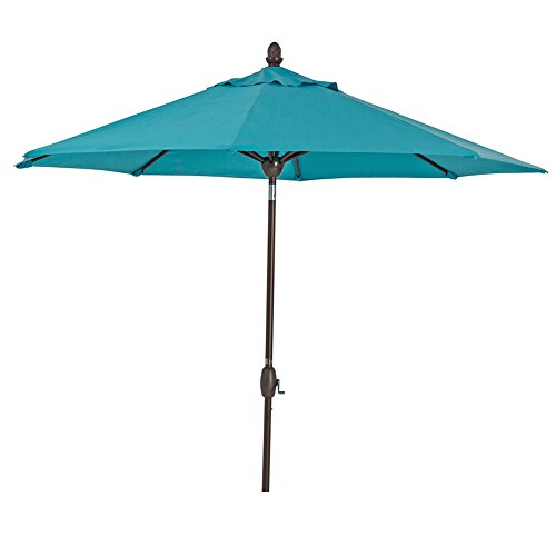 SORARA Sunbrella Patio Umbrella 9-Feet Outdoor Market Table Umbrella with Auto Tilt&Crank&Umbrella Cover, 8 Ribs, Blue