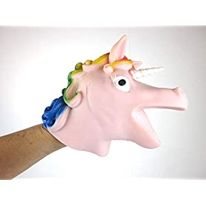 Big Game Toys~Unicorn Hand Puppet Rainbow Mane Stretchy Rubber Schylling Pink or Purple