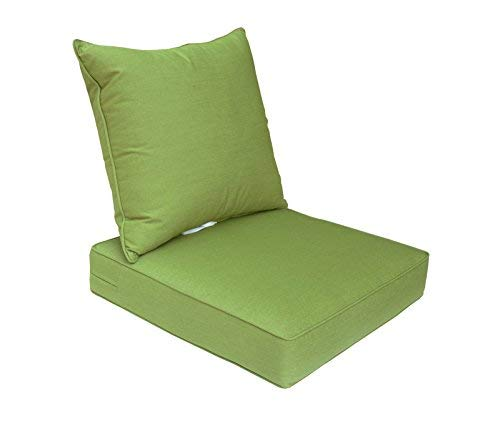 Bossima Sunbrella Indoor/Outdoor Spectrum Cilantro/Green Deep Seat Chair Cushion Set,Spring/Summer Seasonal Replacement Cushions.